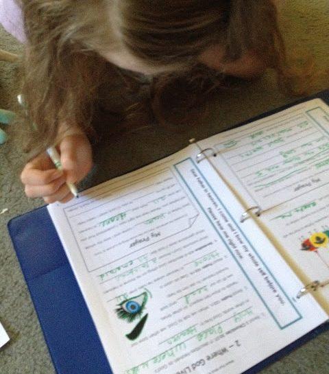 girl working on Prayer and Bible Study Program for homeschool